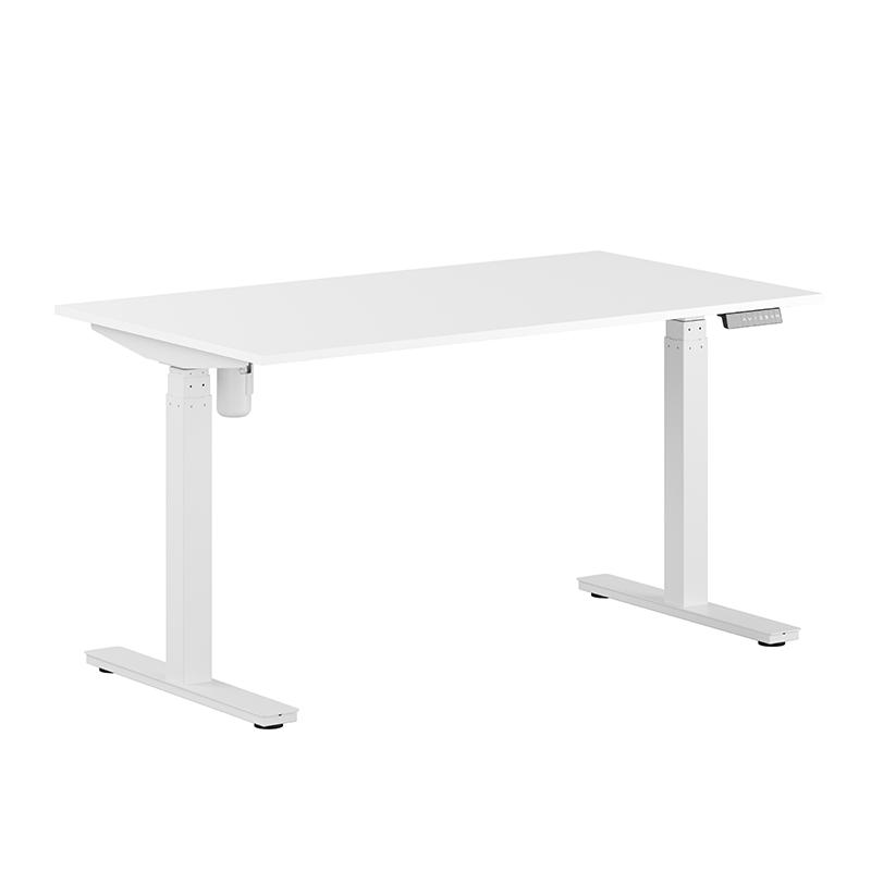 Höj- & sänkbart skrivbord vitt stativ & vit skiva