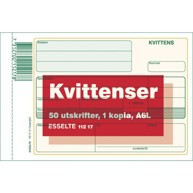 Allt För Kontor Esselte Blankett kvittens A6L 2x50 blad kopia