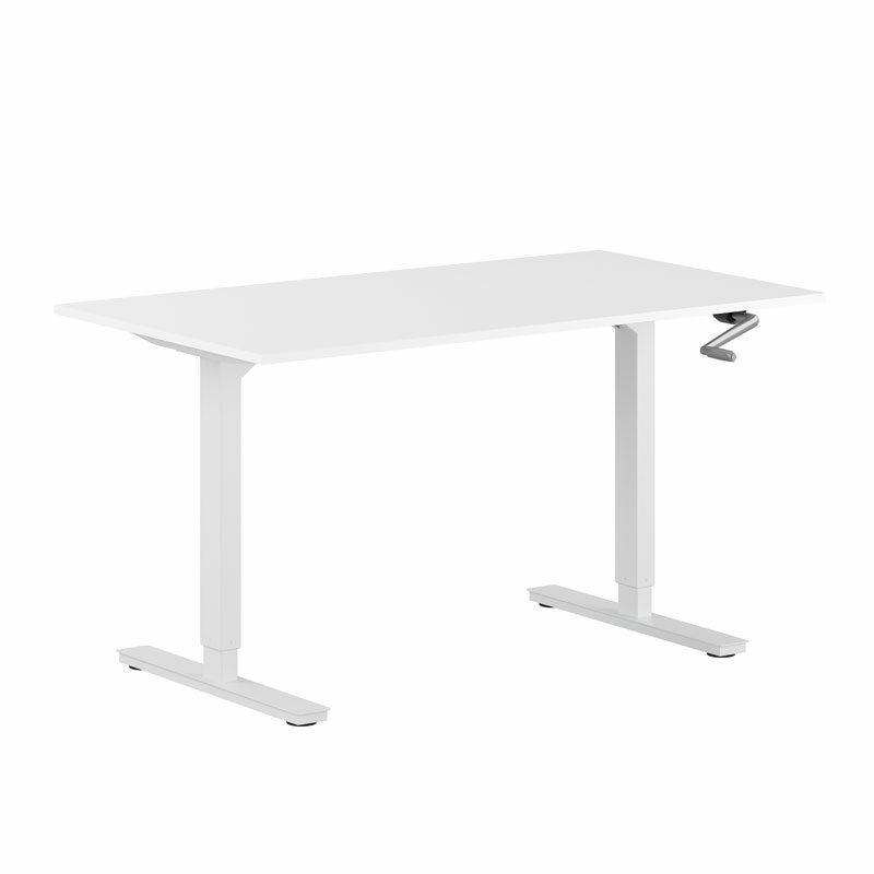 Höj- & sänkbart skrivbord med vev, Vit skiva 120x70 cm